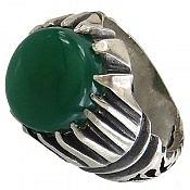 انگشتر نقره عقیق سبز طرح صفوی مردانه