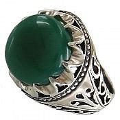 انگشتر نقره عقیق سبز خوش نقش مردانه