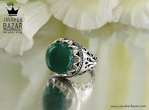 انگشتر نقره عقیق سبز خوش نقش مردانه - 30416