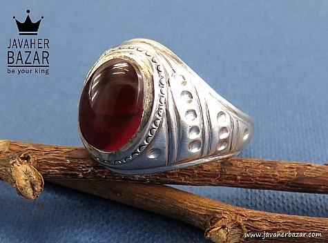 انگشتر نقره عقیق یمن مردانه دست ساز - 30422