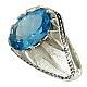 انگشتر نقره توپاز سوئیس آبی فاخر مردانه