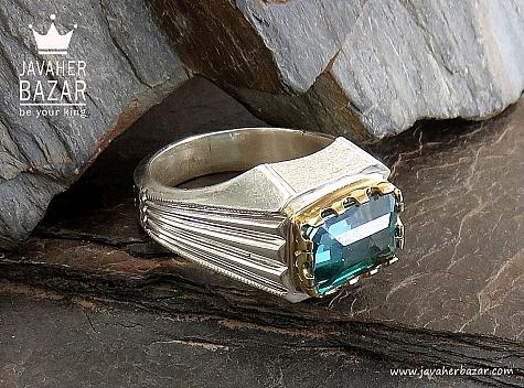 انگشتر نقره توپاز سوئیس طرح کلاسیک فاخر مردانه دست ساز - 30439