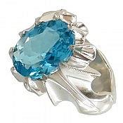 انگشتر نقره توپاز سوئیس آبی خوش رنگ مردانه