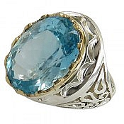 انگشتر نقره توپاز سوئیس آبی شاهانه و لوکس مردانه