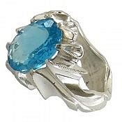 انگشتر نقره توپاز سوئیس دورچنگ و خوش رنگ مردانه