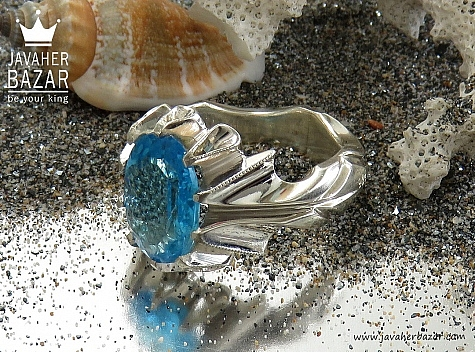 انگشتر نقره توپاز سوئیس دورچنگ و خوش رنگ مردانه دست ساز - 30450