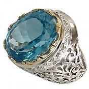 انگشتر نقره توپاز سوئیس آبی شاهانه و کم نظیر مردانه