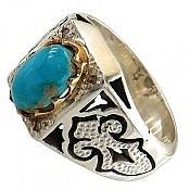 انگشتر نقره فیروزه نیشابوری و برلیان اصل طرح سلطنتی مردانه