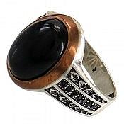 انگشتر نقره عقیق سیاه خوش نقش مردانه