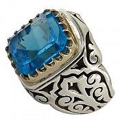 انگشتر نقره توپاز سوئیس خوش رنگ و کم نظیر مردانه