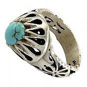 انگشتر نقره فیروزه نیشابوری زیبا مردانه