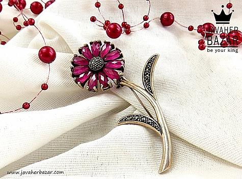 گل سینه نقره طرح گل لوکس - 30553