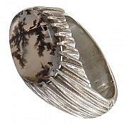 انگشتر نقره عقیق شجر طرح صفوی فاخر مردانه