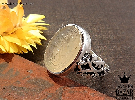 انگشتر نقره عقیق یمنی نباتی حکاکی یا رزاق ارزشمند مردانه دست ساز - 30591
