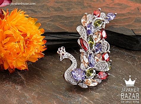 گل سینه نقره طرح طاووس فاخر - 30641