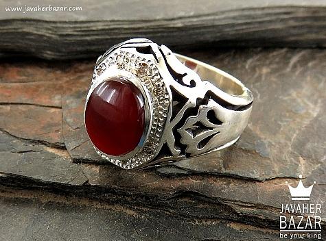 انگشتر نقره عقیق یمن و برلیان اصل فاخر و ارزشمند مردانه دست ساز - 30763
