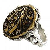 انگشتر نقره حدید صینی حکاکی یا حضرت عباس مردانه