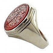 انگشتر نقره عقیق یمن حکاکی مذهبی ارزشمند مردانه