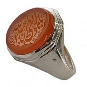 انگشتر نقره عقیق یمن حکاکی یا مولای یا اباعبدالله مردانه
