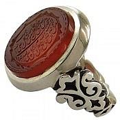 انگشتر نقره عقیق یمن طرح قدیمی حکاکی و من یتق الله ارزشمند مردانه