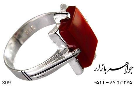 انگشتر نقره عقیق قرمز طرح سیاه قلم - 309