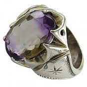 انگشتر نقره آمیترین جذاب و خوش رنگ مردانه