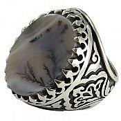 انگشتر نقره عقیق شجر درشت شاهانه مردانه