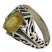 انگشتر نقره یاقوت زرد مرغوب مردانه