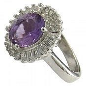 انگشتر نقره آمتیست سلطنتی زنانه