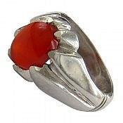 انگشتر نقره عقیق یمن قرمز مرغوب مردانه