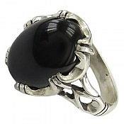 انگشتر نقره عقیق سیاه اسپرت مردانه