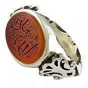 انگشتر نقره عقیق یمن حکاکی الله مدد سلطنتی مردانه