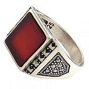 انگشتر نقره عقیق قرمز اسپرت مردانه