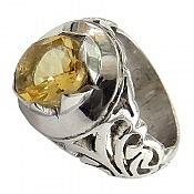 انگشتر نقره سیترین خوش رنگ اشرافی مردانه