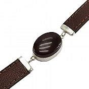 دستبند نقره چرم و عقیق طرح اسپرت