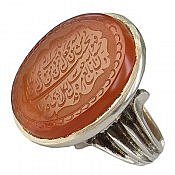 انگشتر نقره عقیق یمن حکاکی و من یتق الله مردانه دست ساز