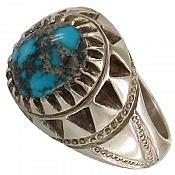انگشتر نقره فیروزه نیشابوری خوش نقش و زیبا مردانه