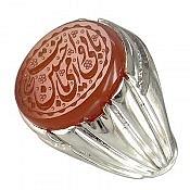 انگشتر نقره عقیق یمن حکاکی بابی انت و امی یاحسین مردانه