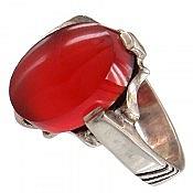 انگشتر نقره عقیق یمن قرمز چهار چنگ مردانه