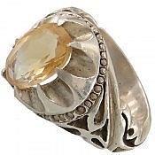 انگشتر نقره سیترین خوش نقش و زیبا مردانه
