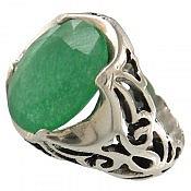 انگشتر نقره جید خوش رنگ طرح سلطنتی مردانه