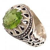 انگشتر نقره زبرجد دورچنگ و خوش رنگ مردانه
