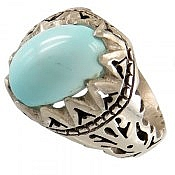 انگشتر نقره فیروزه نیشابوری خوش طبع و زیبا مردانه