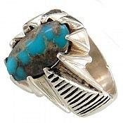انگشتر نقره فیروزه نیشابوری ارزشمند مردانه دست ساز