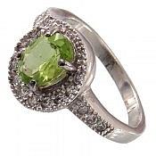 انگشتر نقره زبرجد زیبا و خوش رنگ زنانه