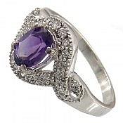 انگشتر نقره آمتیست خوش رنگ و جذاب زنانه