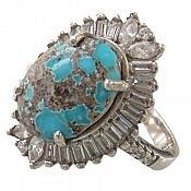 انگشتر نقره فیروزه نیشابوری زیبا طرح خاتون زنانه