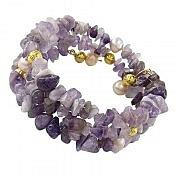 دستبند آمتیست و مروارید سه رشته ای خوش رنگ زنانه