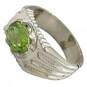 انگشتر نقره زبرجد خوش رنگ و سلطنتی مردانه