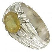 انگشتر نقره یاقوت زرد طرح صفوی مرغوب مردانه